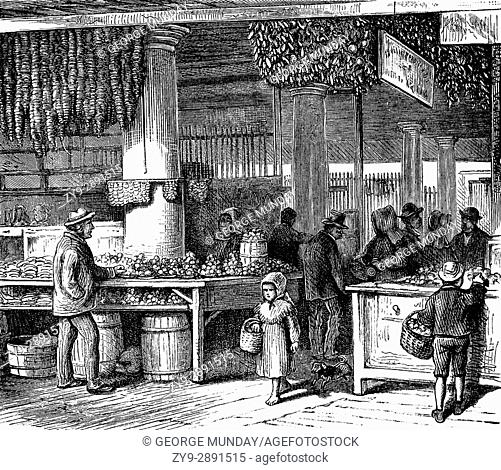 1879: The French Vegetable Market in New Orleans, Louisiana, United States of America
