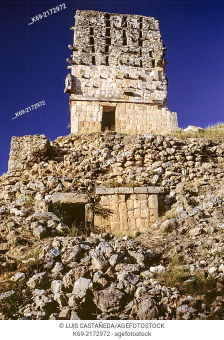 """""""""""""""""""""""El Mirador"""""""" Temple- Pyramid. Labna, a pyramid-like structure surmounted by a temple. Also on the site is the Temple of the Columns"""