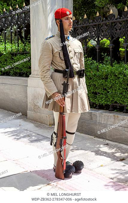 Greek soldier, an Evzone, outside the Presidential Palace, Athens, Greece