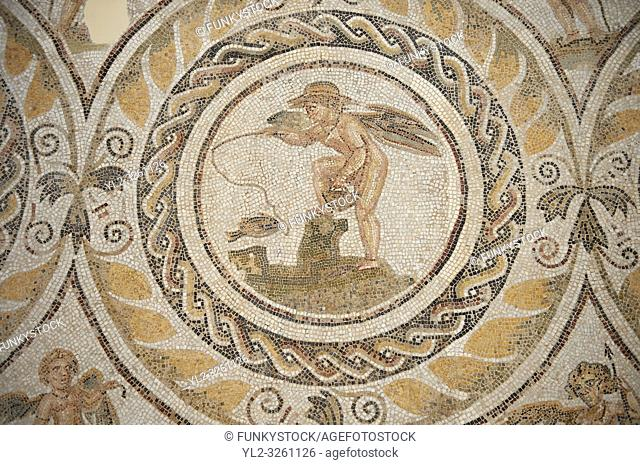 Picture of a Roman mosaics design depicting Silenus and fishing cupids, from the ancient Roman city of Thysdrus. 3rd century AD, House of Silenus