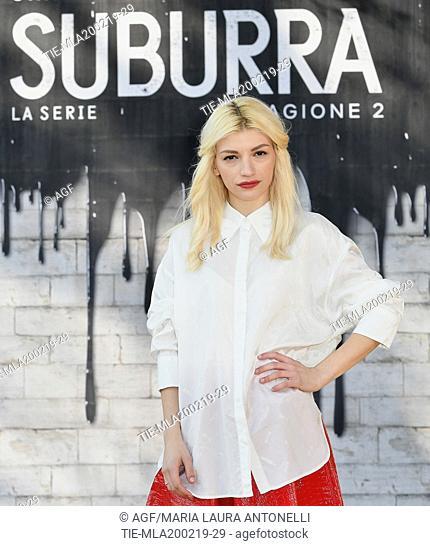 Carlotta Antonelli during photocall of the second season of Italian fiction 'Suburra', Rome 20-02-2019