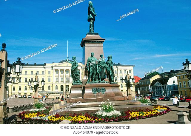 Cathedral and statue of Alexander II on Senate Square in old town. Helsinki. Finland