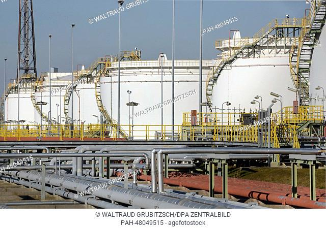 View of some of the large tanks with a storage volume of about one million cubic metres altogether at the 'Total' oil refinery in Leuna, Germany, 12 March 2014