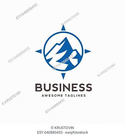blue Mountain icon Logo Business Template Vector, mountain in circle line logo vector