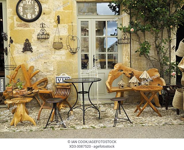 outdoor display of a brocante, Monpazier, Dordogne Department, Aquitaine, France
