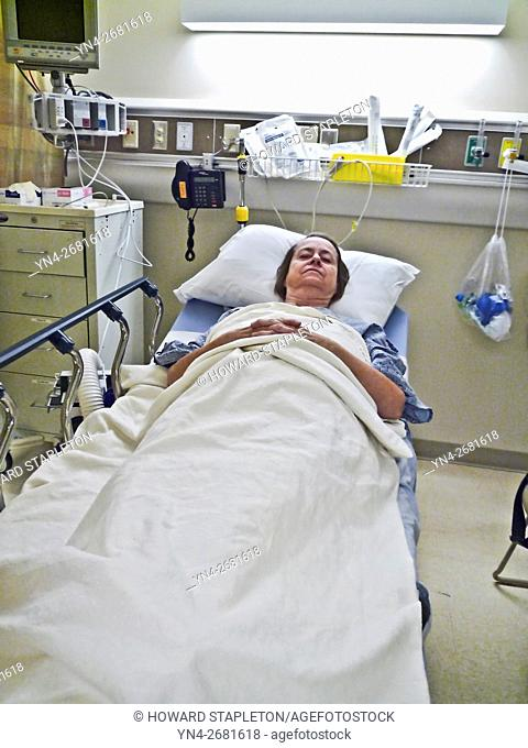 Mature woman pre-op patient in hospital prior to surgery