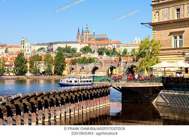 czech republic, prague - charles bridge, hradcany castle, st. vitus's cathedral