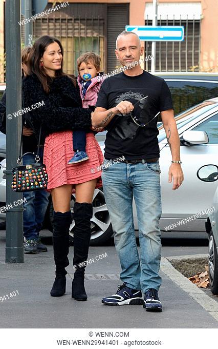 Eros Ramazzotti celebrates his birthday in Milan Featuring: Eros Ramazzotti, Marica Pellegrinelli, Gabrio Tullio Where: Milan