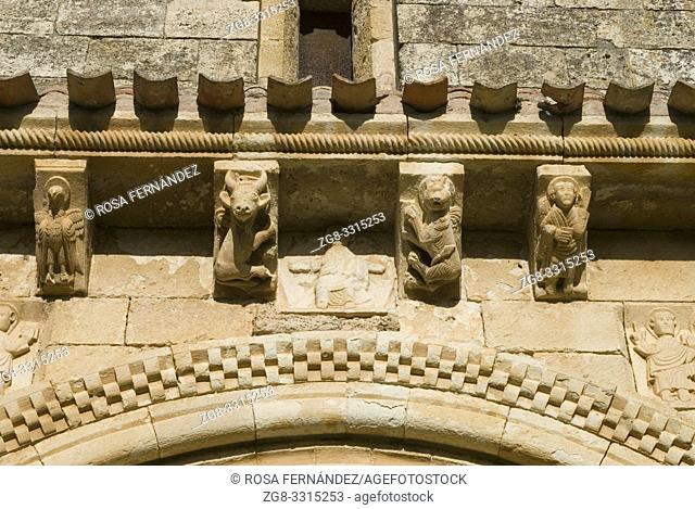 Facade and detail of the corbels representing the four evangelists, Church of San Pedro de Tejada, XII Century, the most beautiful Romanesque temple at Las...