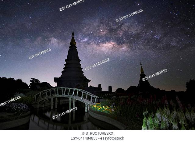 Pagoda with milky way in background at Doi Inthanon mountain, Chiang Mai,Thailand
