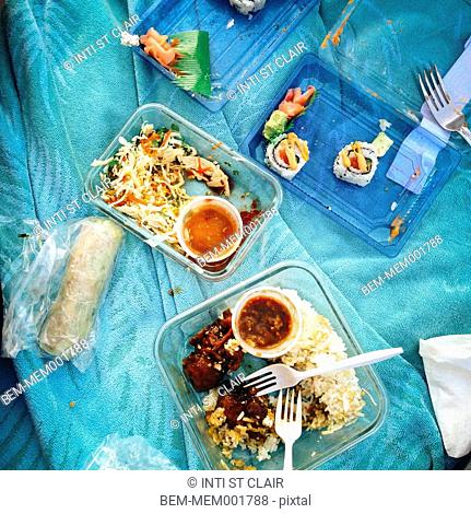 Take out containers of food on picnic blanket