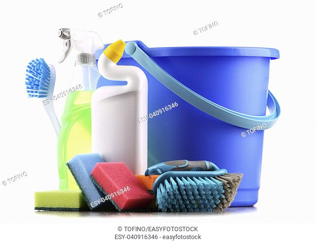 Chemical cleaning supplies isolated on white