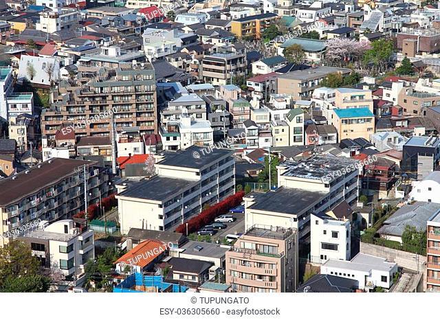 Tokyo, Japan - aerial view of Bunkyo district. Modern city skyline