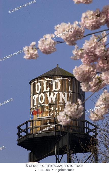 Old Town Water Tower with decorative cherry trees, Tom McCall Waterfront Park, Portland, Oregon