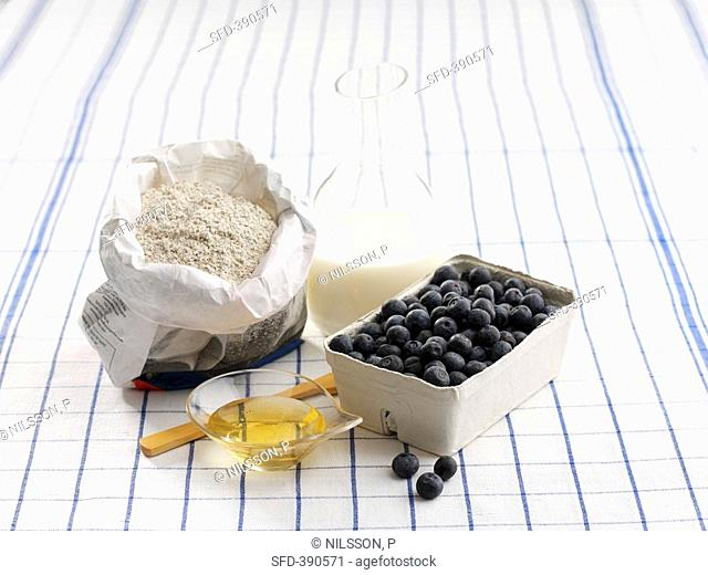 Ingredients for blueberry puree with milk