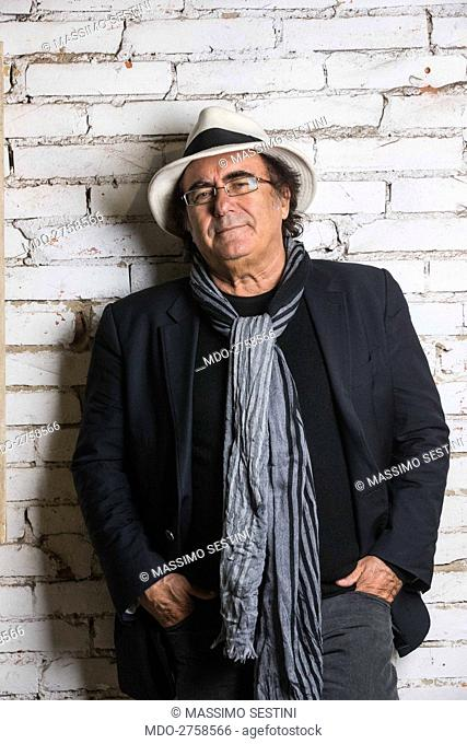Italian singer-songwriter and actor Al Bano (Albano Carrisi) posing leaning against a wall. Montecatini Terme, 3rd April 2013