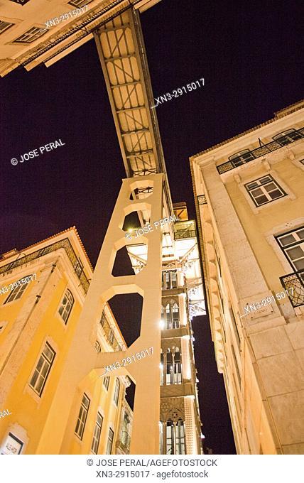 Santa Justa Lift or Carmo Lift, Elevador de Santa Justa, Baixa, Lisbon, Portugal, Europe