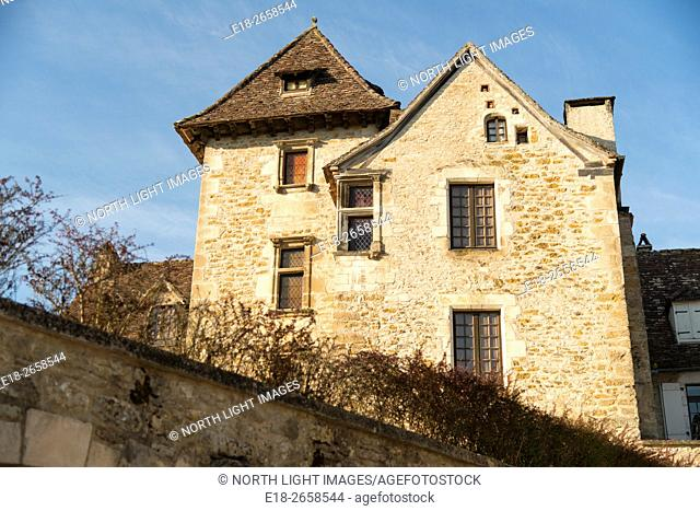 France, Midi-Pyrénées, Carrenac. Tall stone house in the medieval village. Officially classified as one of the most beautiful villages of France