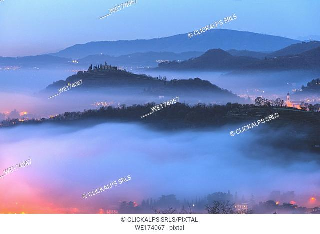 Hills at dawn in Brescia province, Lombardy district, Italy