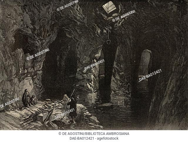 Rock-cut cistern under the site of Solomon's Temple, Jerusalem, Israel, illustration from the magazine The Illustrated London News, volume LX, April 13, 1872