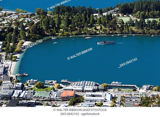 New Zealand, South Island, Otago, Queenstown, elevated town view with steamer TSS Earnslaw