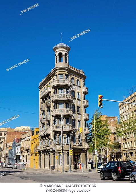 Europe, Spain, Barcelona, Unique building on the corner formed between the street and Pere IV Pallars. Reminds the Flatiron Building in New York but the...