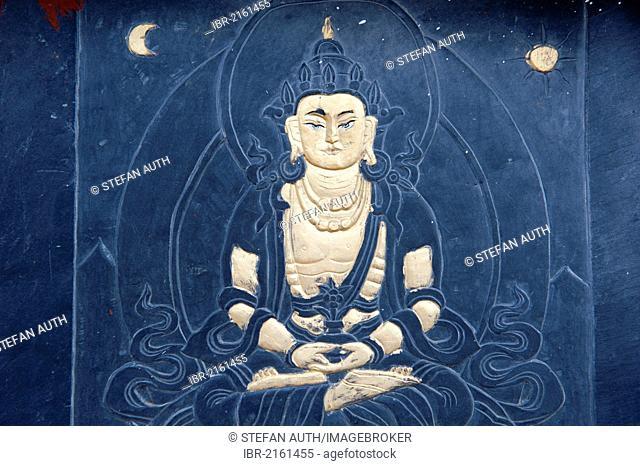 Tibetan Buddhism, stone relief, image of Buddha, Bhumisparsha Mudra, touching the earth, Dochu-La-Pass, the Himalayas, Kingdom of Bhutan, South Asia, Asia
