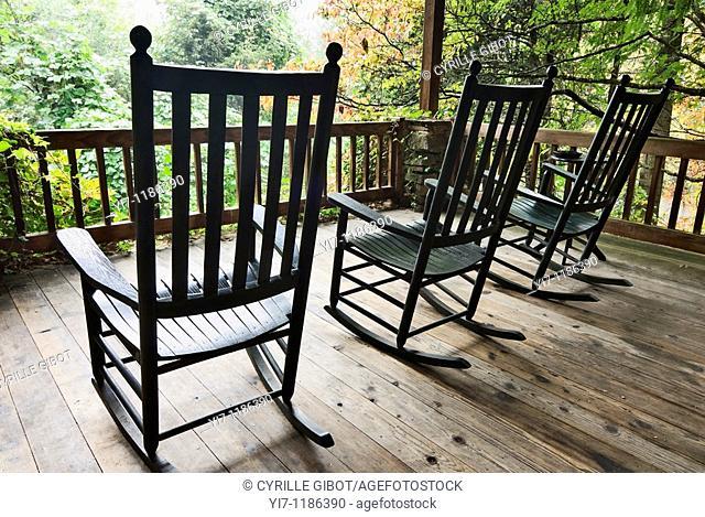 Rocking chairs on front porch, Bryson City, North Carolina, USA