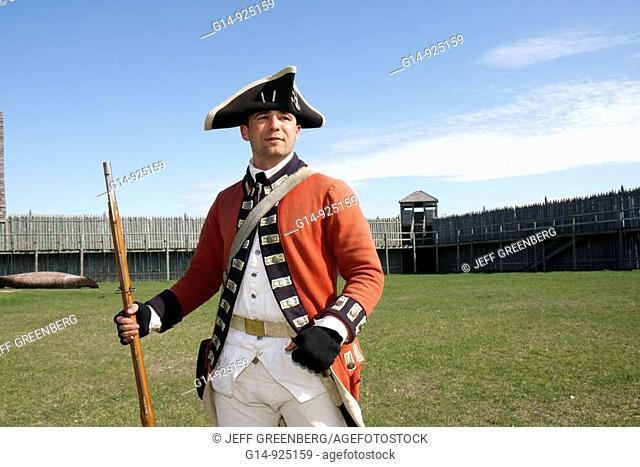 Michigan, Mackinaw City, Mackinac Historic State Parks Park, Straits of Mackinac, Lake Huron, fort, Colonial Michilimackinac, Musket Demonstration, man, soldier