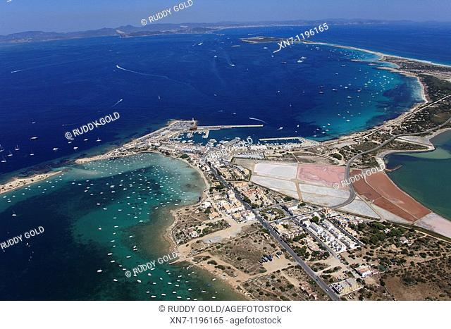 Es Savina harbor, Des Peix lagoon on the left and a little of the Pudent lagoon on the right, Ibiza in the distance, Formentera, Balearic Islands, Spain