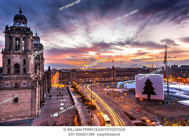 Metropolitan Cathedral and President's Palace in Zocalo, Center of Mexico City Mexico Christmas Sunrise