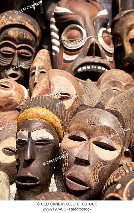 Close-up shot of wooden masks at the market, Stone Town, Zanzibar, Unguja Island, Zanzibar Archipelago, Tanzania, Africa