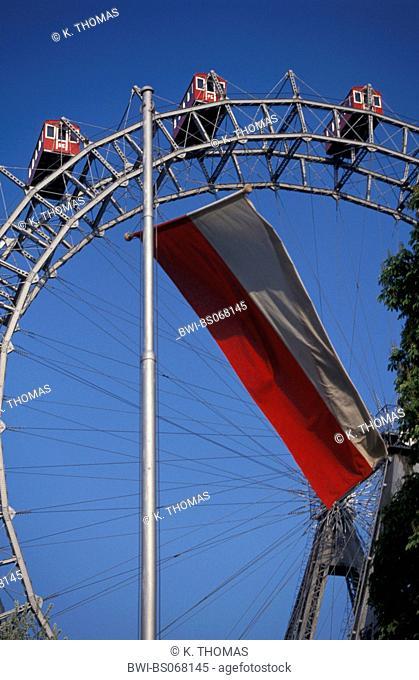 Viennese Prater, Giant Ferry Wheel, red-white-red flag, Austria, Vienna, 2. district, Vienna - Prater