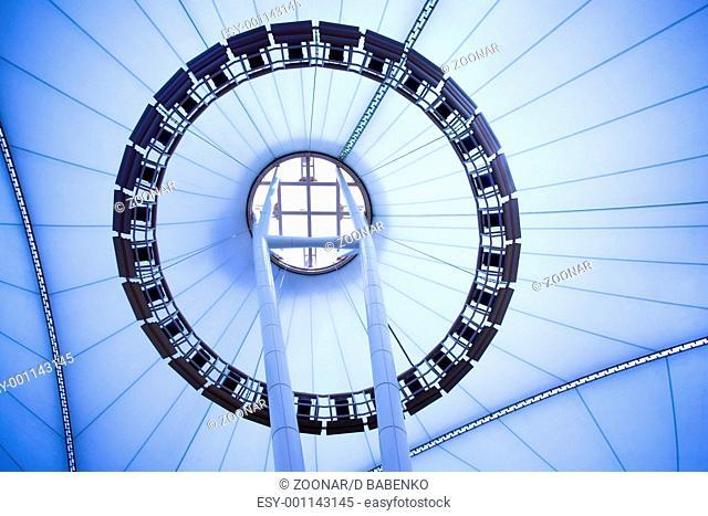 blue unusual geometric ceiling of office building