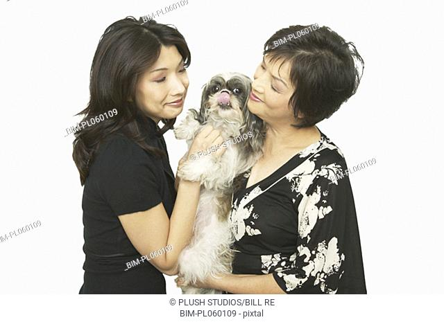 Studio shot of Asian mother and adult daughter with Shih-Tzu