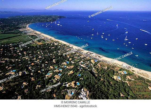 France, Var, Presqu'ile de Saint Tropez, Pampelonne beaches aerial view