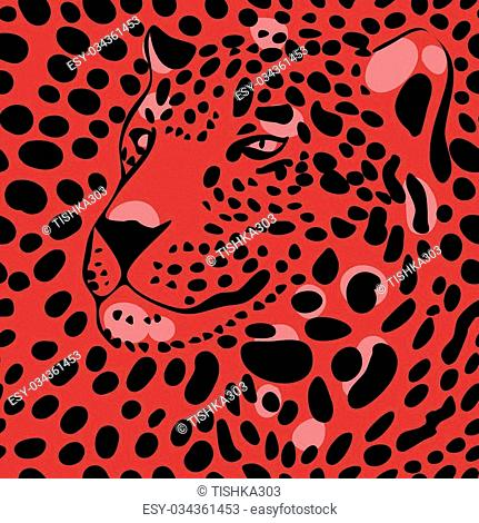 seamless wallpaper with a leopard print and a silhouette of the muzzle of leopard