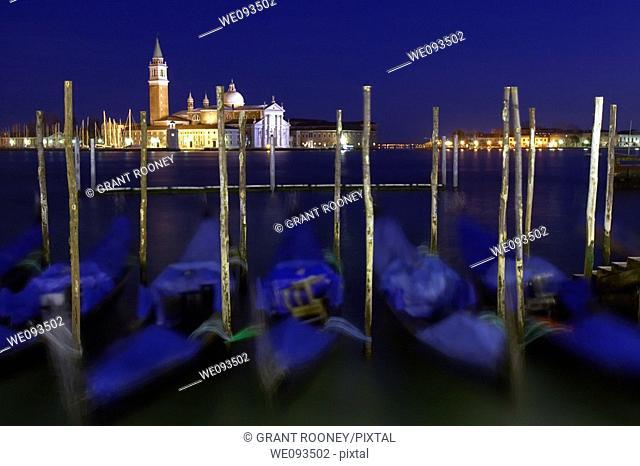 Gondolas , Canal Guidecia , Venice , Italy