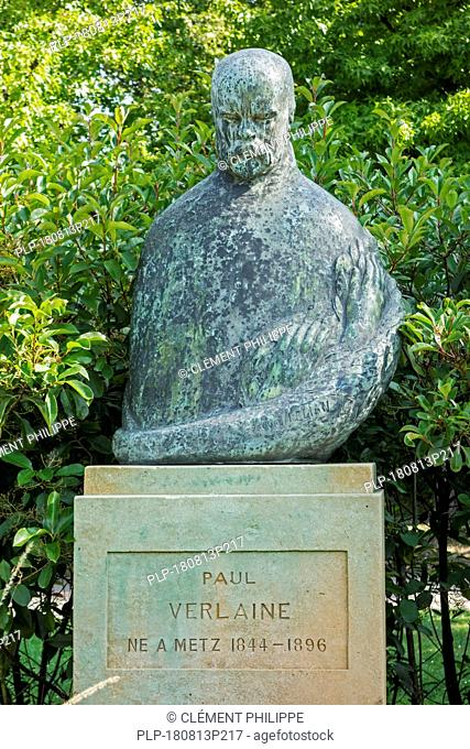 Bust of Paul Verlaine, French poet in the city Metz, Moselle, Lorraine, France