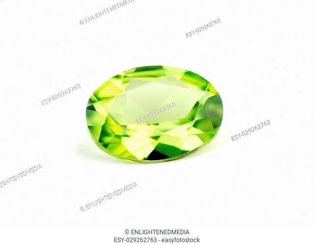 Brilliant natural green peridot isolate on white
