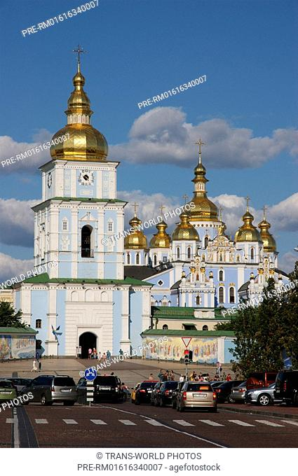 St. Michailow Monastry with entrance-tower and cathedral in Kiev city, Ukraine, Europe