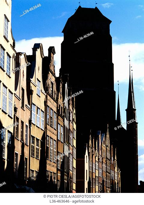 Old Town Sihouette of the gothic cathedral of St Mary one of the biggest in Europe. Gdansk. Poland