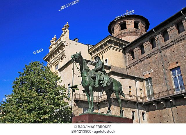 Equestrian statue on the southern side of the Palazzo Madama, tower of the Roman Porta Pretoria, Turin, Torino, Piedmont, Italy, Europe