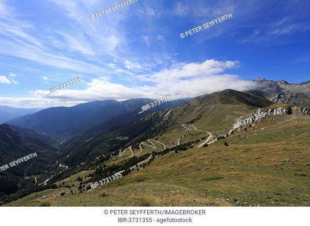 View from Tenda Pass over the Roya Valley, Tende, Département Alpes-Maritimes, Region Provence-Alpes-Côte d'Azur, France