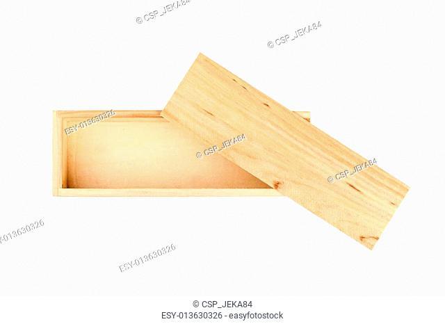 Wood box isolated on the white background