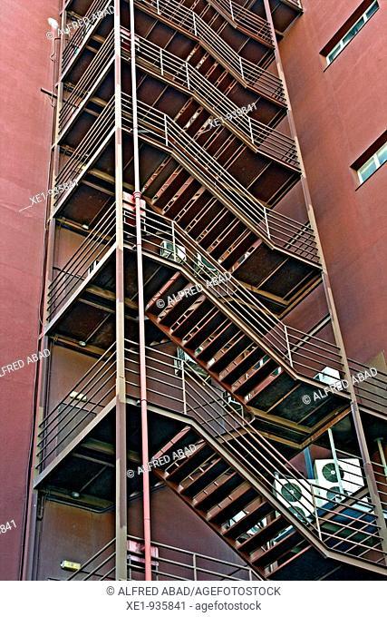 Fire stairs, Building from la Zona Franca, Barcelona, Catalonia, Spain