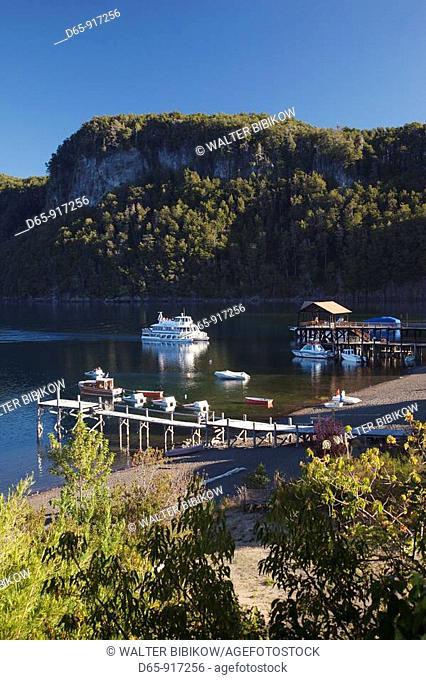 Bahia Mansa bay and ferry to Los Arrayanes National Park, Lake Nahuel Huapi, Villa La Angostura, Road of the Seven Lakes, Lake District, Neuquen Province
