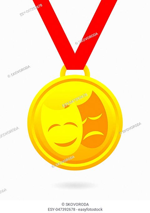 Golden medal with theatrical masks on red ribbon isolated on white background