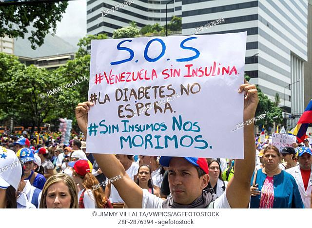 "The opposition mobilization called """"Great March for Health and Life"""" was developed in Avenida Francisco de Miranda, and could not reach the Ministry of Health"