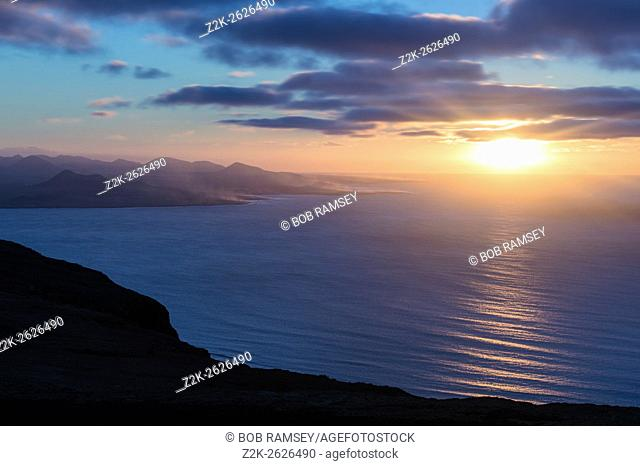 View at sunset time at Mirador del Rio in Lanzarote